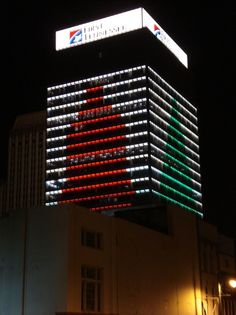 Holiday cheer on all four sides of the First Tennessee Bank building in downtown Memphis, Tennessee. :D