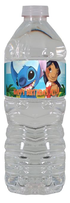 Lilo and Stitch personalized water bottle labels – worldofpinatas.com