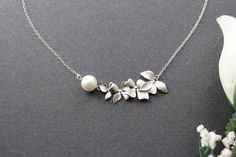 Orchid Flower with Peal Necklace Sterling Silver by emilymoon2003