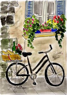 Illustration by Fifi Flowers Bicycle Painting, Bicycle Art, Art And Illustration, Watercolor Cards, Watercolor Paintings, Watercolors, Whimsical Art, Painting Inspiration, Bunt