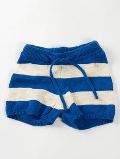 Kid Navy Blue Striped Knit Shorts by BOBO CHOSES