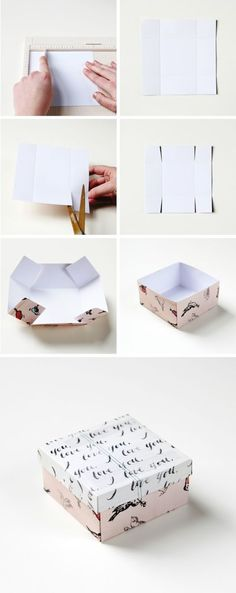 DIY: gift box. I do this with recycled Christmas cards! Any cards really. No matter that the card was sighed by someone else. Or if it worked out use the card given to you by the person you are giving the gift to...: