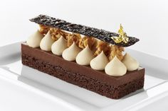 """Chocolate Cremeux"" from Melania Castegnaroof Ridgewells Catering restaurant. Brown butter cake, chocolate cremeux, Valrhona DULCEY 32% whipped ganache, sweet DULCEY 32% crumbs and burnt cocoa crisp."