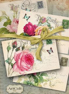 OLD CHIC POSTCARDS - Digital Collage Sheet Printable Download Victorian Vintage Roses Greeting cards Shabby Paper Scrapbook