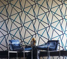 Sumi/Harlequin Wallcovering A large scale brushed geometric with an abstract oriental feel.