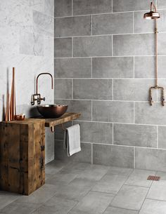 For the past year the bathroom design ideas were dominated by All-white bathroom, black and white retro tiles and seamless shower room Grey Wall Tiles, Grey Bathroom Tiles, Concrete Bathroom, Kitchen Wall Tiles, Bathroom Tile Designs, Bathroom Black, Shower Tiles, Bathroom Ideas, Small Bathroom