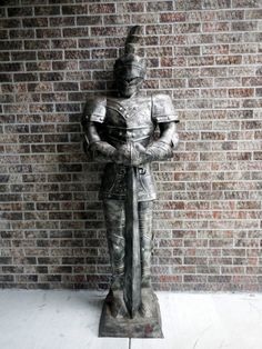 """Handmade Suit of Armor Medieval Knight 7 Feet Tall Castle Sword Helmet Metal 