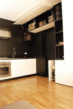 White kitchen with beams | by a3lier, painted white oak and stainless steel top