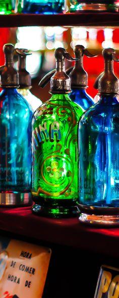 "Colorful vintage ""soda"" bottles.San Telmo flea market. Buenos Aires"