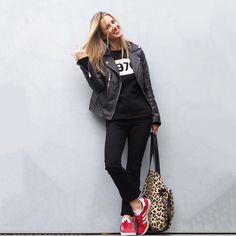 Bella Freud 1970 Black jumper, Red Gazelles, Leopard Print bag , Leather Biker