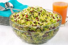 Avocado & Shaved Brussels Sprout Salad with Honey-Ginger Vinaigrette... Yum!