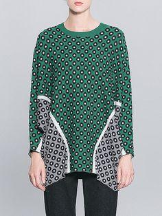 #AdoreWe #StyleWe Sweaters - Pokwai Polka Dots Casual Batwing Knitted H-line Sweater - AdoreWe.net