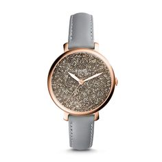 Jacqueline Three-Hand Graystone Leather Watch - $125.00 | @giftryapp