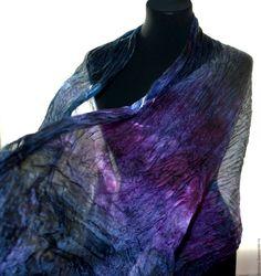Купить фиолетово сине черный шарф палантин шёлковый подарок женщине - шелковый шарф