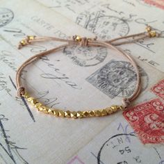 Leather and Gold Faceted Bead Layer Bracelet