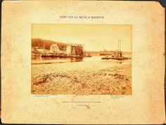 9-9-1889 (of 9 aout) Historische foto uit een reeks van 3 of 4 die in opdracht zijn gemaakt van John Cockeril. Op bijgaande foto's een mooi beeld van het bouwen van de pijlers Maasbrug tussen Roosteren en Maaseik. Vintage World Maps, Auction, Bridge