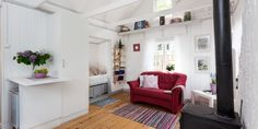 "swedish cottage (""koloniträdgård"") #sleeping #living #fireplace"