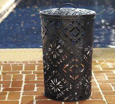 Pierced Metal Lidded Bin   Pottery Barn (laundry basket??)