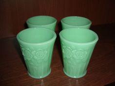 Set of 4 Jadeite Juice Glasses with Sunflowers   eBay