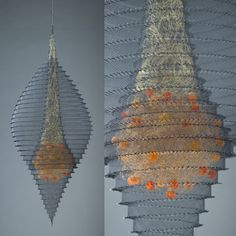 """Contemporary Basketry: Redefining Sculpture  Lanny Bergner  Constellation Construct II  Aluminum, Bronze, Brass Wire Mesh, Silcone, Frit  32"""" x 12"""" x 12"""""""