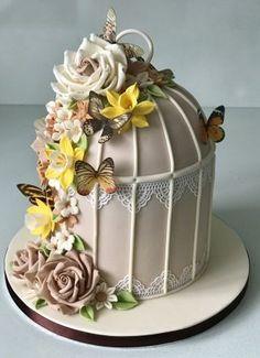 52 Ideas for birthday cake decorating flowers wafer paper Pretty Cakes, Cute Cakes, Beautiful Cakes, Amazing Cakes, Fondant Cakes, Cupcake Cakes, Bird Cage Cake, Super Torte, Birthday Cake Decorating
