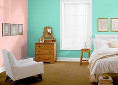 This is the project I created on Behr.com. I used these colors: SEAFOAM SPRAY(430A-2),CORAL BELLS(170C-3),MINT MAJESTY(480A-3),