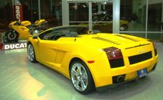 Spring Daffodil Yellow Lambroghini Gallardo Spyder and Summer Sunflower Yellow Ducati Motorcycle perfect vehicles for driving in warm weather