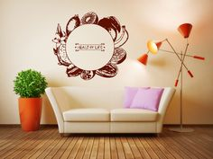 Wall Decal Room Sticker healthy organic good food stamp quote life style bo3020 by RoomDecalsAndDesigns on Etsy
