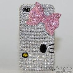 Swarovski Luxury Crystal Bling Case Cover for iphone 4 / Handcrafted by BlingAngels with Carrying Pink Pouch Cute Cases, Cute Phone Cases, Iphone Cases, Laptop Cases, Decoracion Hello Kitty, Hello Kitty Merchandise, Wonderful Day, Miss Kitty, Hello Kitty Items