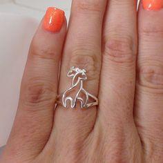 Sterling Silver Hugging Giraffe Ring