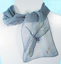 Dragonfly Silk Scarf- Hand-painted Silk Scarves in silvery gray on silk chiffon. Dragonfly Jewelry, Dragonfly Art, Dragonfly Symbolism, Dragonfly Clothing, Dragonfly Drawing, Bernardo Y Bianca, Ideas Joyería, Silk Art, Painted Clothes