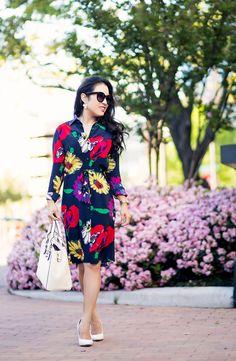 cute & little blog | petite fashion | tucker nyc floral shirt dress, white pumps, white satchel, kendra scott necklace | #ladieslovetucker