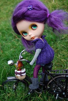 Rainette and her bicylcle by amloro16 - Custom Blythe Doll with bike  #blythe #doll