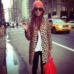 My cheetah coat with black skinnies and a white Tshirt
