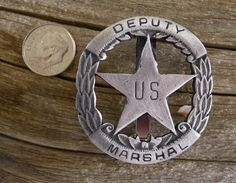 Deputy U. Marshall Badge with pin back Law Enforcement Badges, Us Marshals, Old Barn Wood, Old West, Belt Buckles, Usa, Keys, Police, Weird