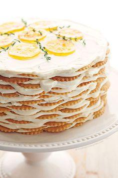 Meyer Lemon Thyme Icebox Cake Recipe | http://shewearsmanyhats.com/meyer-lemon-thyme-icebox-cake-recipe/