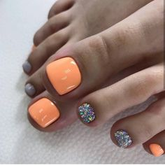 51 Adorable Toe Nail Designs For This Summer Neon Orange and Glitter Toe Nail Design for Summer - Nail Designs Glitter Toe Nails, Gel Toe Nails, Pedicure Nails, Toe Nail Art, My Nails, Gel Toes, Shellac Toes, Manicure Ideas, Acrylic Nails