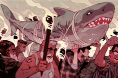 'Torches and Pitchforks' for NewsweekThough admittedly, there are no pitchforks in his illustration. A piece I did for Newsweek bout Shark Week and their abandoning for educational programming, and awareness for the endangered species in favor of the image of monster killer dinosaur sharks.Thanks to AD Jessica Fitzgerald!
