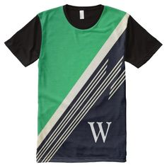 Green Manly Retro Abstract Stripes Custom Monogram All-Over Print T-shirt @zazzle