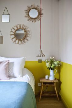 Lower part of walls painted bright yellow - Decoist