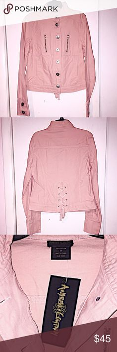 💕Pink Jacket with Lace Up Back💕 Andrew and Company light pink, lace up back jean jacket! Zipper detail on front, pockets, button closure on front and on sleeves. 100% cotton Andrew and Company Jackets & Coats