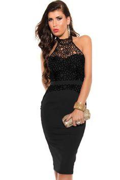 Hot Sale Lace Splice Turtleneck Halter Black Vintage Dress Strapless Floral Dresses
