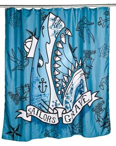 Inked Boutique - Sailors Grave Shower Curtain Neo Traditional Tattoo Inspired Nautical Flash Shark http://www.inkedboutique.com