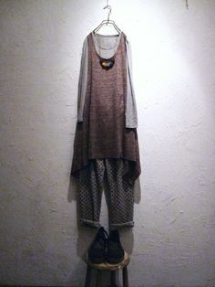 toolz.au. Styling. Linen & Cotton pinafore, light grey tee, dots pants. Felt & Leather string necklace.