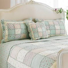 Love neutral bedrooms with patchwork quilts bedding