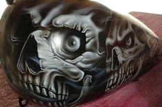 airbrushed mural on white bagger Skull Artwork, Skull Painting, Air Brush Painting, Custom Motorcycle Paint Jobs, Custom Paint Jobs, Dark S, Paint Themes, Motos Harley Davidson, Garages