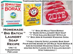 "Homemade "" Big Batch "" Laundry Soap Recipe  