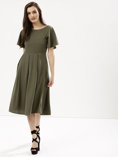 378d608ca21 Buy Femella Olive Fit   Flare Midi Dress for Girls Online in India