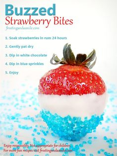 Buzzed Strawberry Bites I A boozy way to eat the summertime fruit I Frosting and a Smile 4th Of July Desserts, Fourth Of July Food, 4th Of July Party, July 4th, Patriotic Party, 4th Of July Cocktails, Patriotic Crafts, July Crafts, Mixed Drinks