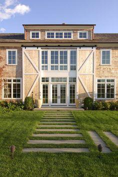 Top 20 Barn Doors | The Blissful Bee.  Great idea for barn doors.